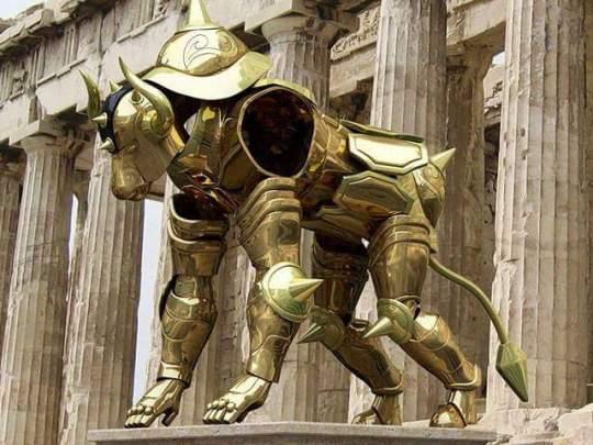 Armures chevaliers d'or taureau
