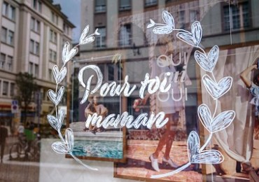 Strasbourg, France - May 27, 2019: Pour toi maman translated as For you mother - special discounts in stores for Mothers Day - Fete des Meres in the shoe store Bocage