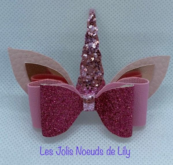 barrette licorne rose paillette petite fille fan coiffure noeuds