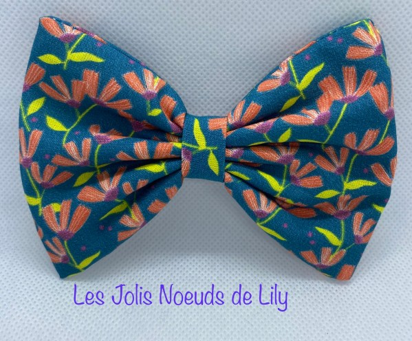 Barrette noeud XL liberty bleu canard