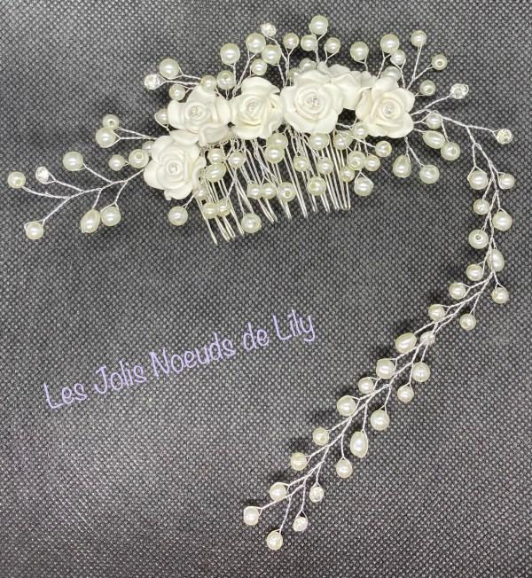 Peigne de mariée bijou de tête perles strass