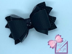 mini barrette noeud noir coiffure petite mèche création
