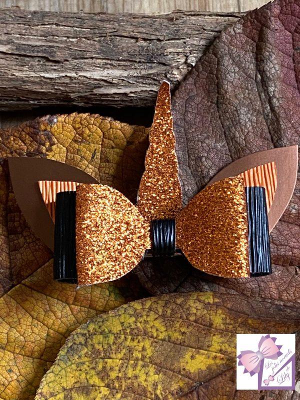 barrette noeud licorne création fait main halloween petite fille orange automne