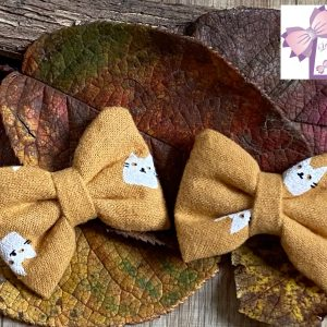 barrette chats ocre minis creation petite fille coiffure