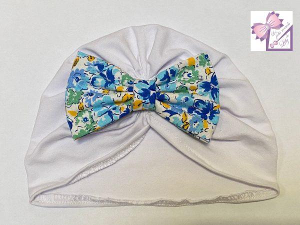 turban bébé r petites fleurs bleues naissance cadeau fait main fille bandeau