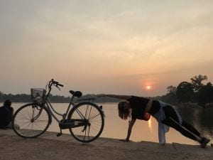 While watching the sunset at Ankgor Wat I had to do some Pilates