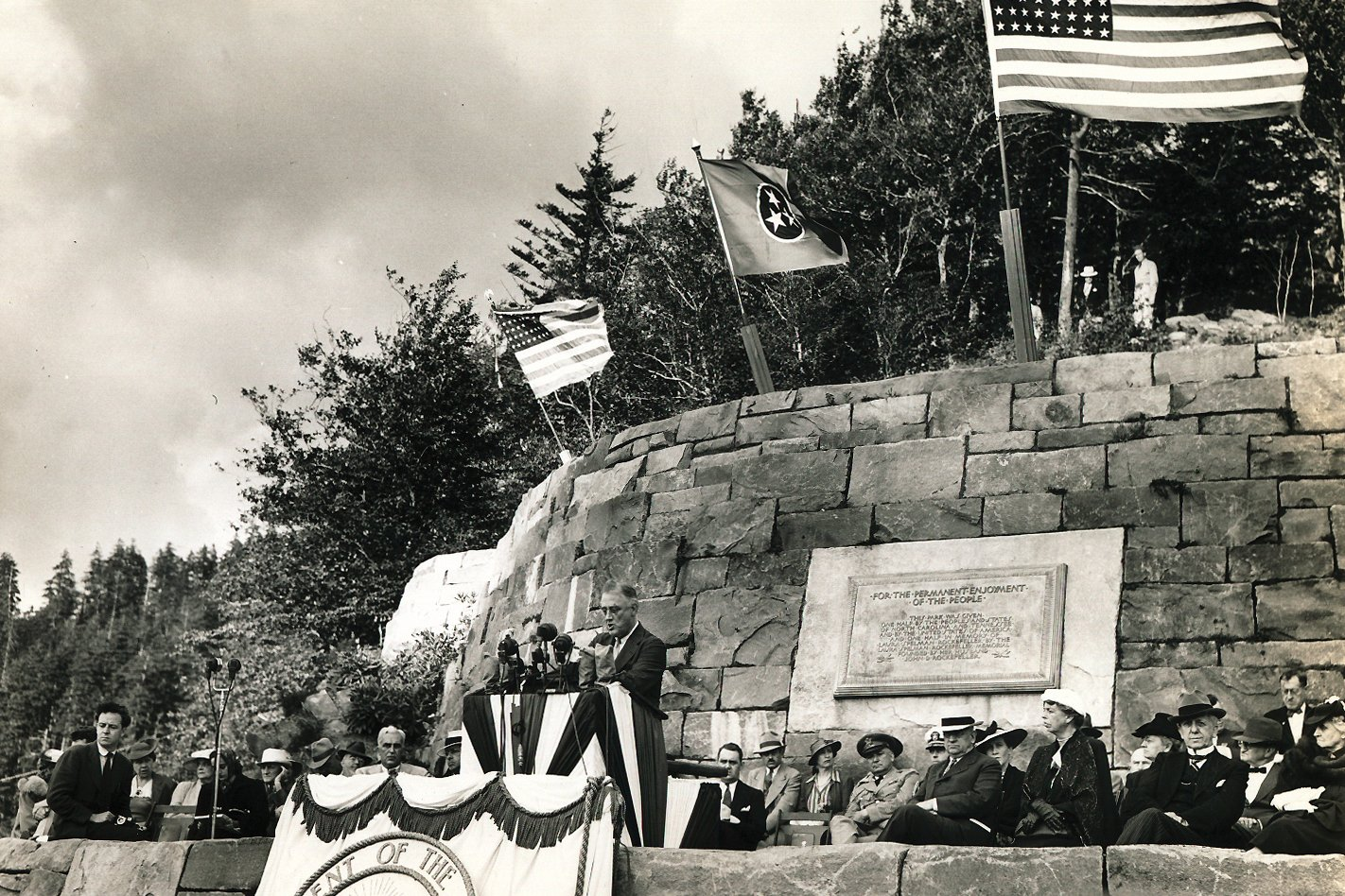 President Franklin D. Roosevelt speaking at the dedication ceremony for the Great Smoky Mountains National Park.