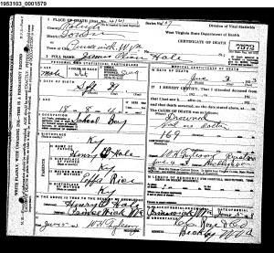 Orville Hale Death Certificate