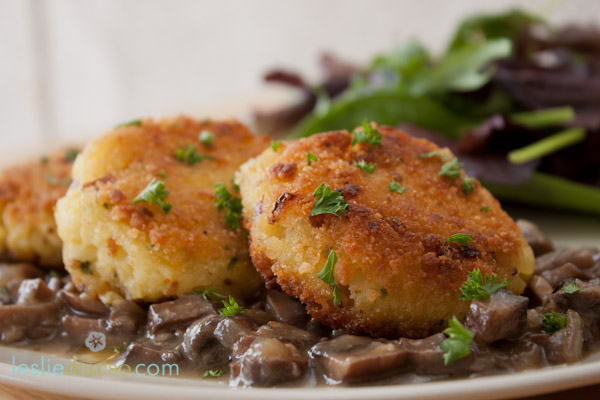 Risotto Cakes with Wild Mushroom Gravy