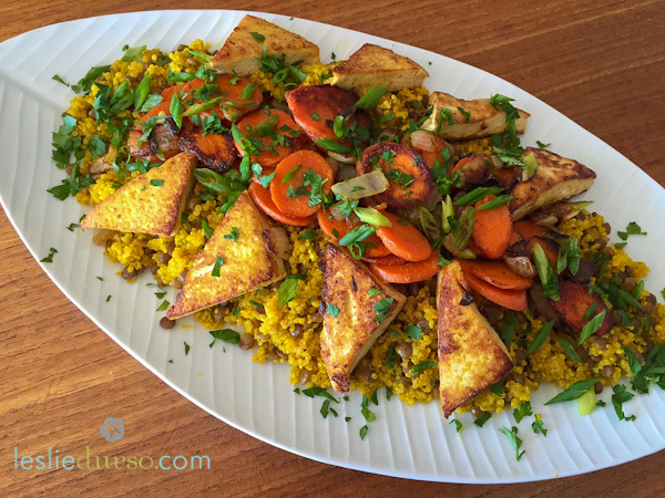 Curry Quinoa & Lentils with Crispy Tofu