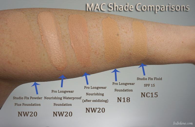 MAC Foundation shade comparisons