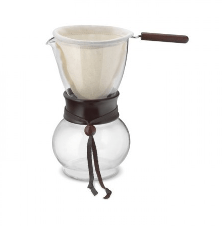 If you're set on one cup at a time, try pour over. Buy yourself a plug in kettle (the most energy efficient way to heat water), give it 60 seconds to heat your cup of water, set your reusable filter on top of your favorite mug, and you'll have coffee in about 4 minutes.