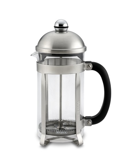 Put the coffee in the press pot, heat your water in the aforementioned electric kettle, pour the water slowly over the grounds, let rest a few minutes, press the grounds to the bottom of the pot and pour off the coffee. If you want a single serving buy a small press pot.