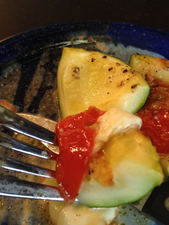 tomato and cheese stuffed summer squash...created without watson!