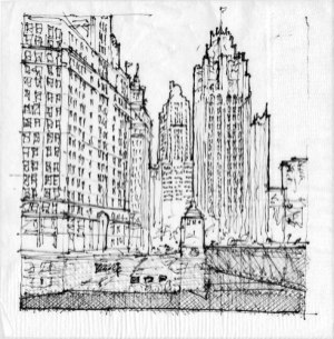 Winner, Gregory Klosowski, Senior Project Architect; Pappageorge Haymes Partners: Chicago Napkin Sketch Title: Chicago Amaranthine