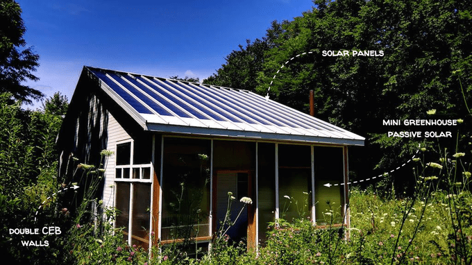 Tiny CEB house with tiny greenhouse and solar roof - Factor e Farm (Missouri, US) - Built in 2014. Courtesy openbuildinginstitute.org