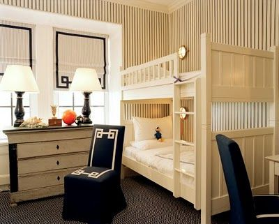I think this is my all time favorite boys rooms...so tailored and clean...it is in Tory Burch's, so no surprise. habituallychic.com