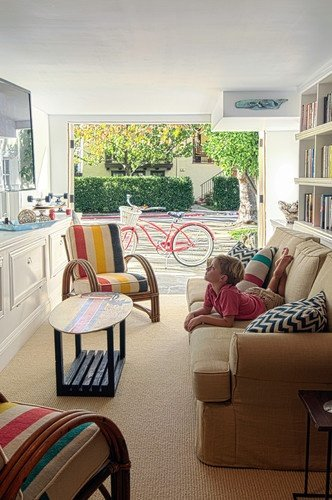 "This might be the ""kids TV room"" but it still looks chic and comfy... houzz.com"
