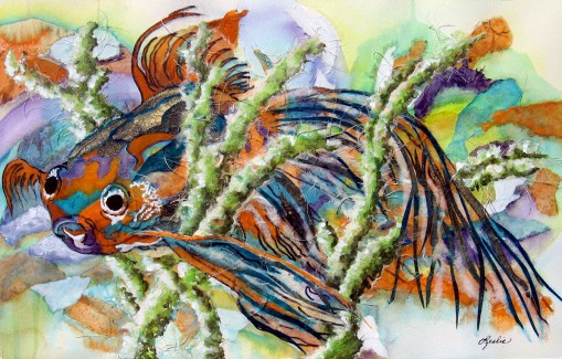 Abstract Aquarium More Watercolor And Rice Paper Collage Leslie White