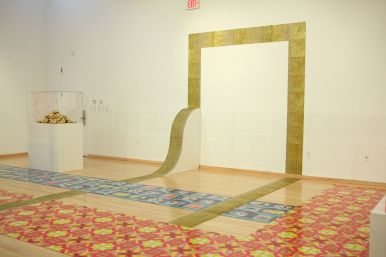 Golden Ramp with Gold Tile (via Gliztianers), dimension variable in site specific installation, gold glitter screen-printed on linoleum tile with wood armature, 2011.