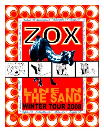 "Zox Line in the Sand Tour, 16"" x 20"", screenprint, 2008."