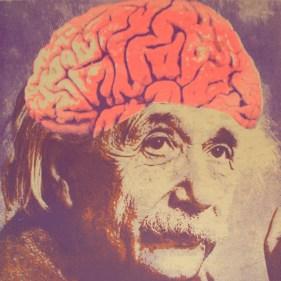 """Einstein, 12"""" x 12"""", screenprint on linoleum tile, 2012."""