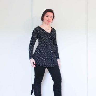 t-shirt noir à pois blancs - les lubies de louise (1 sur 2)