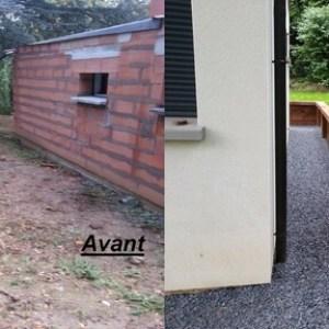 mur de soutennement + bachage talus avec plantation + allée gravillonné et engazonnement