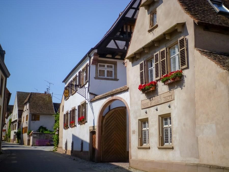 route des vins-alsace-france-mittelbergheim-rue-village-maison à colombages