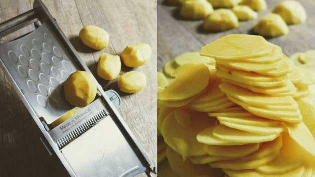 Rondelles de pommes de terre du gratin dauphinois des Mondaines