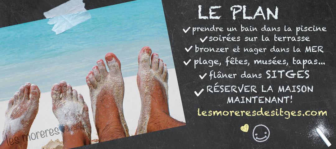 Pieds nus d'un couple dans le sable sur la plage. Le PLAN de vacances à Sitges: sable fin, mer, piscine, barbecue, loisirs, détente, gastronomie ... Location de vacances.