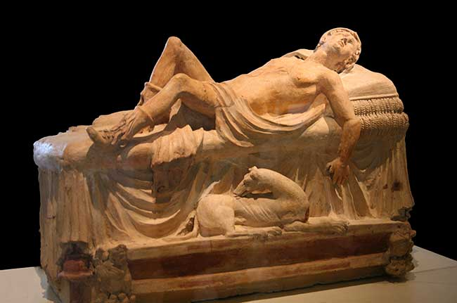 Adonis moribundo, arte funerario etrusco, Museos Vaticanos.