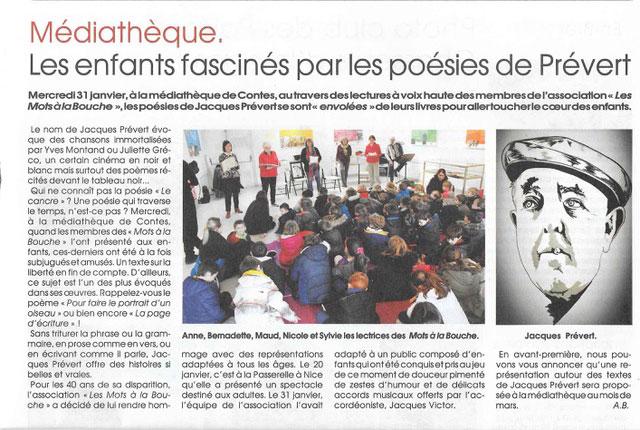 Article du journal Le Patriote sur la lecture scénique Le bonheur des enfants est aussi dans le Prévert