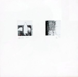 SEGUIN Mathilde Acqueduc, 2002 gravure sur sucre 28x28 cm