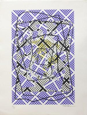 MAHOU Pascal Figures aux 36 carrés, 2001 Sérigraphie 73x53 cm