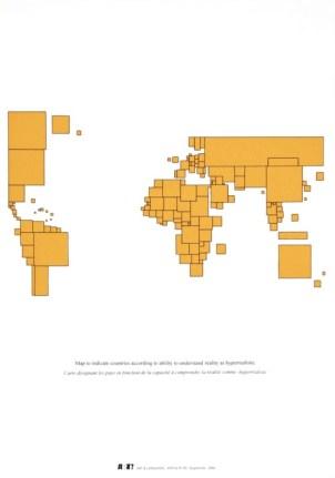 Carte du monde, affiche n°83 2002 sérigraphie par Alain Buyse 53x38 cm