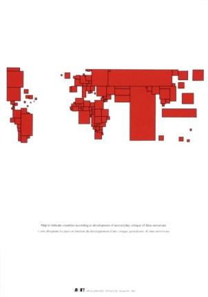 Carte du monde, affiche n°82 2002 sérigraphie par Alain Buyse 53x38 cm