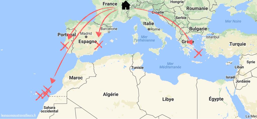 Les points de chute de Xenia, principalement en Europe : Canaries, Lisbonne, Javea, Cyclades
