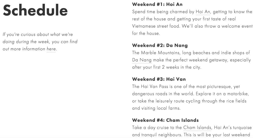 Activités proposées par Nomadhouse pour le mois à Hoi An, au Vietnam