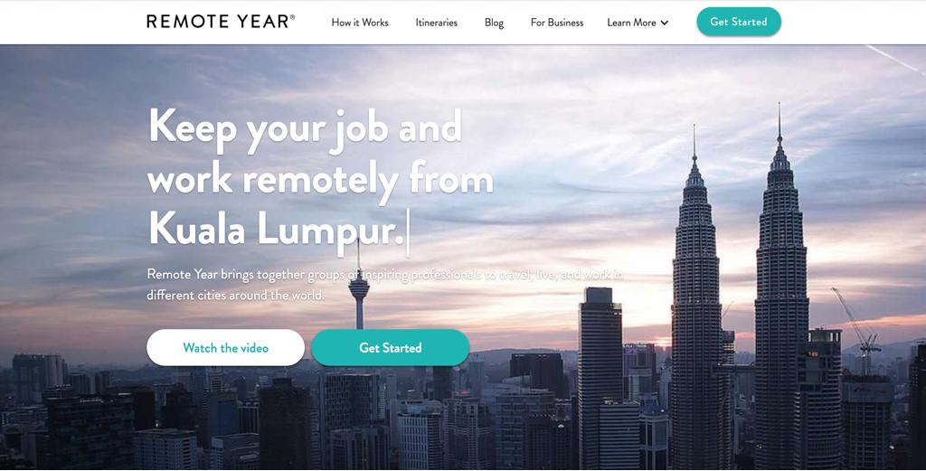 Page d'accueil du site remoteyear.com