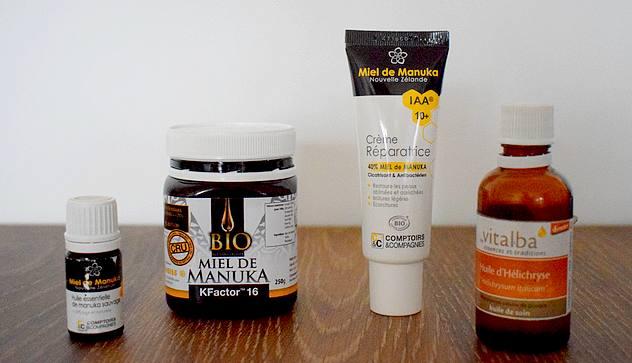 Mes produits de beauté favoris bio et naturels en 2017 anti-acné : miel de manuka, huile essentielle de manuka, huile essentielle d'immortelle, crème réparatrice Comptoirs et Compagnie au miel