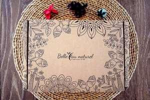 Box beauté bio Belle au Naturel édition mars 2018 : éponge konjac myrtille Bomoi, masque hydratant Ylae, blanchisseur dentaire Smile Carbon, eau de génie Indemne