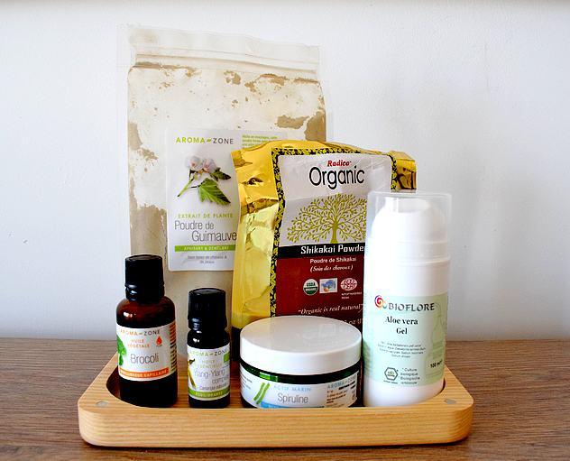 Tag mes favoris beauté 100% naturels cheveux : poudre de guimauve, shikakai, huiles végétales, huile essentielle ylang ylang, gel d'aloe vera, spiruline