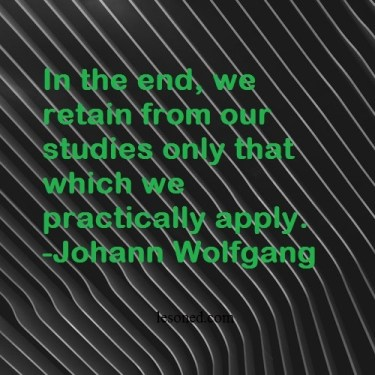 In the end, we retain from our studies only that which we practically apply. -Johann Wolfgang