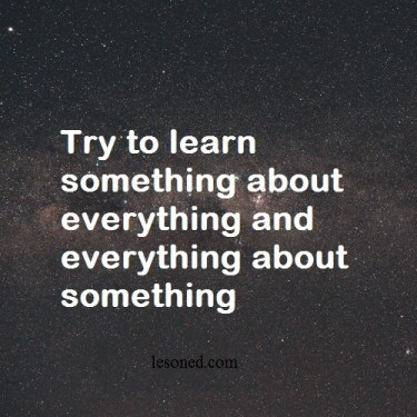 Try to learn something about everything and everything about something