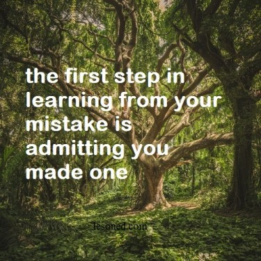 the first step in learning from your mistake is admitting you made one