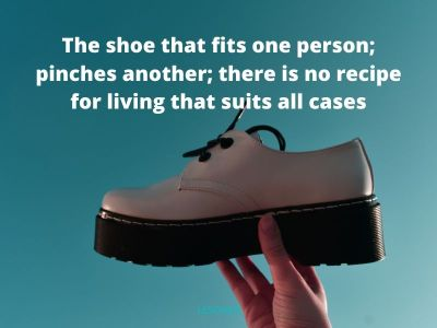 the shoe that fits one person; pinches another; there is no recipe for living that suits all cases
