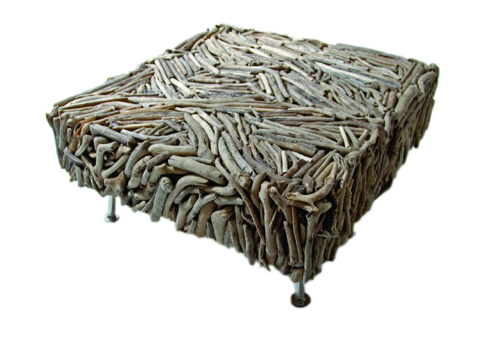 driftwood coffee table with stainless steel legs le souq