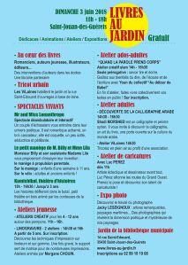 programme livres au jardin Saint-Jouan-des-Guérets 3 juin 2018