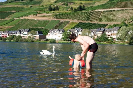 Baignade dans la Moselle